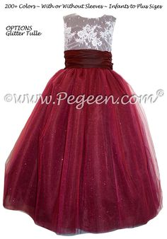 Cranberry Tulle and beaded aloncon lace Flower girl dress - Pegeen Couture Style 402 by Pegeen Red Flower Girl Dresses, Lace Flower Girls, Girls Dresses, Red Grey Wedding, Couture Fashion, Couture Style, Junior Bridesmaid Dresses, Bridesmaids, Custom Dresses