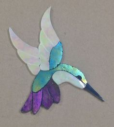 "Precut Stained Glass Art Kit Lady Hummingbird Mosaic Inlay Handcrafted 5""x 4"" 