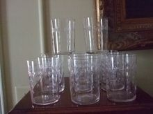 Set Of 11 Hand Blown Cut Crystal Sipper Glasses