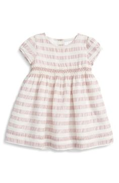 Burberry 'Marielle' Stripe Ruched Waist Silk Dress (Baby Girls) available at #Nordstrom