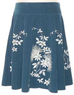 Talbots Beaded Corduroy Skirt Blue
