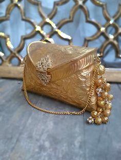 Golden Clutch Bag with Beaded Tassel