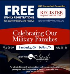Free Registration to the Teach Them Diligently Convention for Active Military Families! @ttdiligently #ad - limited time!