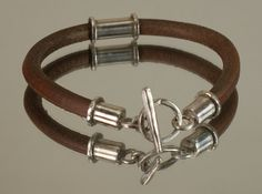 Natural leather Sterling Silver Bracelet  Mens Bracelet by AngelJK, zł200.00