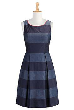 Graphic stripe chambray dress