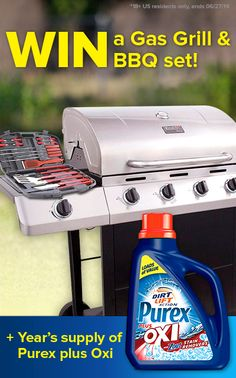*THIS SWEEPSTAKES HAS ENDED* Enter to WIN a gas grill & BBQ set for summer cookouts, plus a year's supply of Purex plus Oxi laundry detergent!