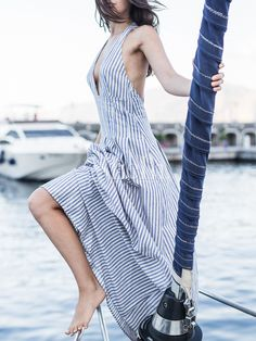White+Blue+Stripe+Deep+V+Neck+Backless+Maxi+Dress+23.99
