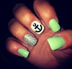 Summer Anchor Nails Green