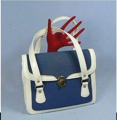 Vintage Kadin Nautical Look Fabric And Vinyl Purse Handbag EUC #Kadin #SatchelVintage