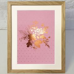 Rose Gold Floral Print With Polka Dots On Pink