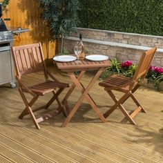 Outdoor Table and Chairs Wooden Folding Bistro Set Balcony Coffee Patio 2 Seater Wooden Lawn Chairs, Wooden Garden Furniture, Cool Furniture, Outdoor Furniture Sets, Outdoor Decor, Balcony Chairs, Outdoor Tables And Chairs, Comfortable Office Chair, Bistro Set