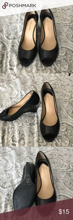 Gianni Bini Black Snakeskin Wedges, Size 7.5 Black peep toe wedges, great for work! Gently used. Size 7.5. Gianni Bini Shoes Wedges