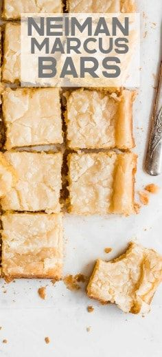 Neiman Marcus Bars are the easiest indulgent treat! These addicting bars are a mix between a blondie bar and cheesecake square but gooey and have a shiny crispy top like a brownie. This is the perfect dessert for sharing with family and friends!