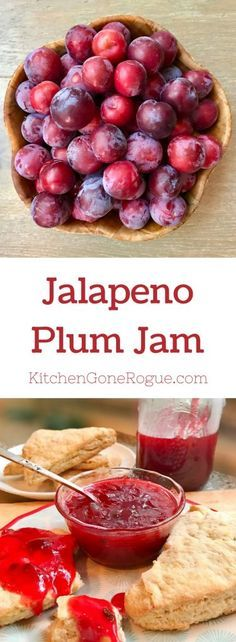 Celebrate plum season with this small batch easy jalapeno cinnamon plum jam! This plum jam is sweet with just a little spice . Plum Jelly Recipes, Fruit Recipes, Dessert Recipes, Plum Recipes Vegan, Plum Recipes Healthy, Easy Recipes, Healthy Sauces, Superfood Recipes, Freezer Recipes