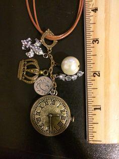 Steampunk Charms on double brown leather cord, clock, crown, coin, bead, fleur-de-lis, Victorian, retro, Boho, bohemian by KudzuCatCreations on Etsy