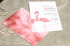 ANY COLOR Beach Flamingo Wedding Invitations by SeaOfLoveStudios