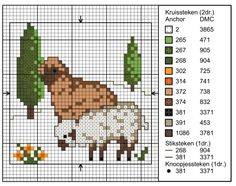 Sheep Cross Stitch, Cross Stitch Cards, Simple Cross Stitch, Cross Stitch Animals, Counted Cross Stitch Patterns, Cross Stitch Designs, Cross Stitching, Cross Stitch Embroidery, Hexagon Quilt Pattern