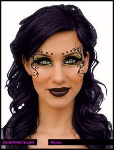 Halloween Makeup Ideas : Fantasy make-up Visage Halloween, Halloween Makeup, Halloween Eyes, Witch Makeup, Eye Makeup, Dark Fairy Costume, Fairy Costumes, Witch Costumes, Halloween Costumes