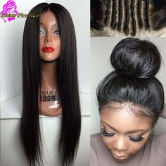 Online Shop Best Full Lace Human Hair Wigs For Black Women Glueless Full lace wigs Brazilian virgin hair Straight Human Hair Lace Front Wigs | Aliexpress Mobile