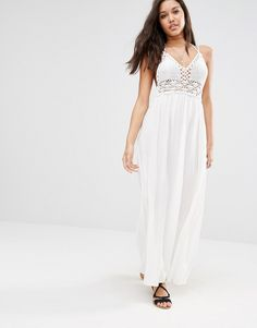 Image 1 ofMissguided Crochet Top Maxi Dress