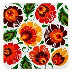Podkładka korkowa na ludowo FOLK FLOWERS - biała - łowickie kwiaty  pomarańczowe - Podstawki kuchenne - zdjęcia, pomysły, inspiracje - Homebook