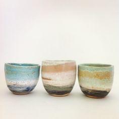 Seaside ceramic mug trio by Shino Takeda Ceramic Clay, Ceramic Bowls, Ceramic Pottery, Pottery Art, Slab Pottery, Ceramics Pottery Mugs, Ceramic Tableware, Japanese Ceramics, Japanese Pottery