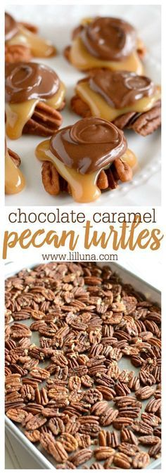 Chocolate Caramel Pecan Turtles - Baked pecans covered in a delicious homemade caramel and topped with with melted chocolate! These treats make perfect neighbor gifts for the holidays!
