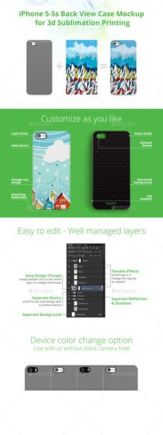 iPhone 55s Case Design Mockup for 3d Sublimation Printing  Back View — Photoshop PSD #printed mobile cover #phone cover demo • Available here → https://graphicriver.net/item/iphone-55s-case-design-mockup-for-3d-sublimation-printing-back-view/10525286?ref=pxcr