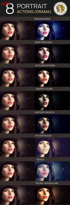 8 Renaissance Portrait Actions for Photoshop - par - Photo Effects Actions
