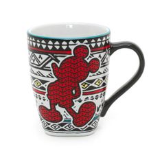 Enjoy a more colourful coffee break with this wonderful Mickey Mouse mug. Its striking patterned exterior features a Mickey Mouse silhouette detail, with a contrast handle.