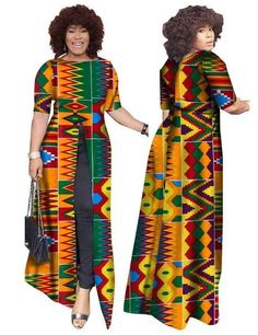 Dresses Length: Ankle-Length Silhouette: Loose Estimated Delivery Sleeve Length(cm): Short Sleeve Style: Regular Decoration: Zippers Material: Polyester,Cotton Waistline: Natural Season: Summer Neckline: Slash neck Model Number: BRW P African Dashiki, African Fashion Ankara, African Fashion Designers, Latest African Fashion Dresses, African Print Fashion, Africa Fashion, Fashion Prints, African Prints, Women's Fashion