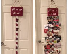 Merry Mail Christmas Card holder Display by DesignsbyBerry on Etsy… Christmas Card Hanger, Hanging Christmas Cards, Christmas Signs Wood, Christmas Greeting Cards, Christmas Decorations, Christmas Ornament, Christmas Projects, Christmas Holidays, Christmas Ideas