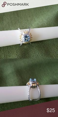 Sky Blue Topaz Ring Gold, Silver, Platinum Bond Brass Ring Jewelry Rings