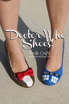 Doctor Who Painted TARDIS Heels!  Bowties are cool!  Paint your shoes!  Geeky upcycle!  :)