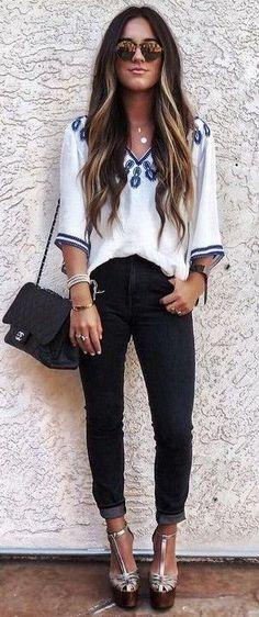 #summer #lovely #outfits |  Boho Top + Denim