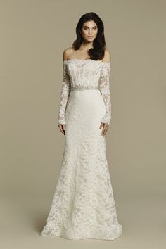 Bridal Gowns, Wedding Dresses by Tara Keely - Style 2600 - Ivory Alencon lace sheath gown, off the shoulder overlay with a sweetheart neckline and long sleeves, encrusted belt at the natural waist, scooped illusion back and chapel train.