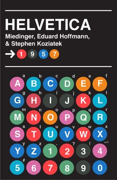 Type Specimen Poster (#1 Helvetica) on Behance  A wonderful reference to the NYC subway signage system designed by Massimo Vignelli - which utilizes Helvetica.