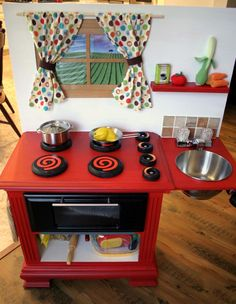 Great Homemade Play Kitchen For Kids!