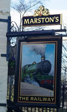 The Railway Hotel (sign), 34 Station Road, Marsden, West Yorkshire, Links: Pub Photo Beer in the Evening Pub Signs, Beer Signs, Uk Pub, British Pub, Train Art, English Shop, London Pubs, Pub Crawl, Store Signs