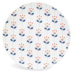 Assiette plate motifs fleurs en porcelaine blanche D 27 cm CAPRI   - Vendu par 6