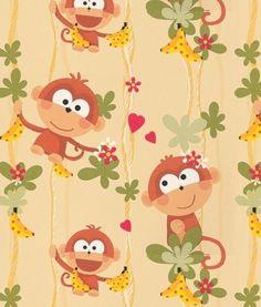 A fun cheeky monkey cartoon style wallpaper. It's bananas at $60.00 per roll http://www.wowwallpaperhanging.com.au/kids-wallpaper/