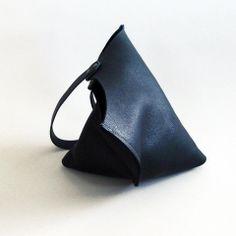 Wedge bag - True black bull hide   scabbyrobot