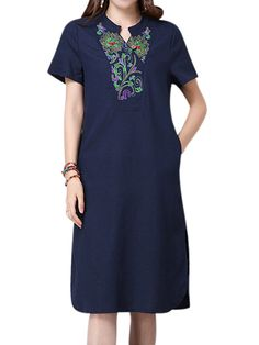 Sale 27% (19.81$) - Women Short Sleeve Ethnic Embroidery Cotton Stand collar Dress