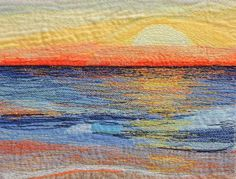 Early Riser layered strips of fabric, silk, net, and muslin, machined over Ocean Quilt, Beach Quilt, Nautical Quilt, Landscape Art Quilts, Thread Painting, Thread Art, Silk Painting, Fabric Postcards, Textiles