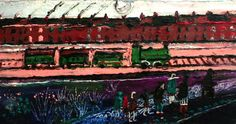 To the Station Oil on Panel 20 x 36 cms