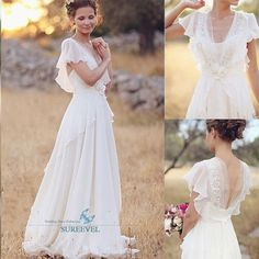 White-Ivory-Bohemian-Chiffon-Wedding-Dresses-Lace-Beach-Bridal-Gowns-Outdoor