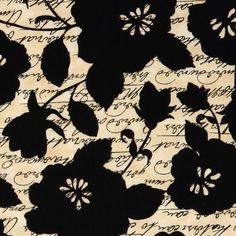 Michael Miller fabric script with flowers Floral Script  beautiful fabric with black script and flowers from the USA