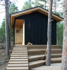 2057 House Kekkapää / Experimental Wooden Building - Love the natural/black. Wooden Buildings, Small Buildings, Interior Architecture, Interior And Exterior, Tiny House, Cabins In The Woods, Prefab, Little Houses, Black House