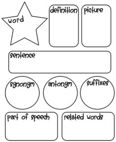 Graphic Organizer for vocabulary words. A great way to get students engaged in vocab using many strategies on one page. Gives students a comprehensive understanding of the vocab word. Teaching Language Arts, Classroom Language, School Classroom, Speech And Language, School Fun, School Stuff, Classroom Ideas, Teaching Spanish, Spanish Language