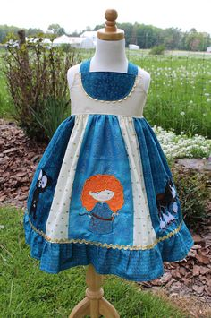 Brave inspired Dress, Merida, Angus and Bear Cub together in a themed Dress inspired by Disney's Brave, sizes 2T-8girls by bleubirddesigns on Etsy https://www.etsy.com/listing/233074371/brave-inspired-dress-merida-angus-and